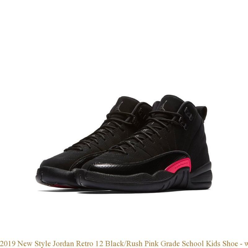 watch dbde2 3b0fb 2019 New Style Jordan Retro 12 Black/Rush Pink Grade School Kids Shoe -  where to get cheap jordans that are real - S0216