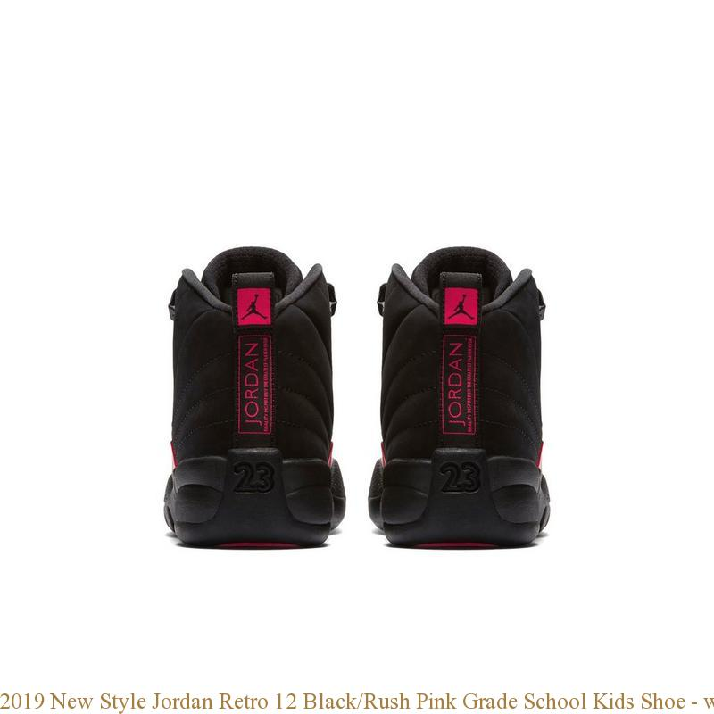 watch a8f02 09b36 2019 New Style Jordan Retro 12 Black/Rush Pink Grade School Kids Shoe -  where to get cheap jordans that are real - S0216