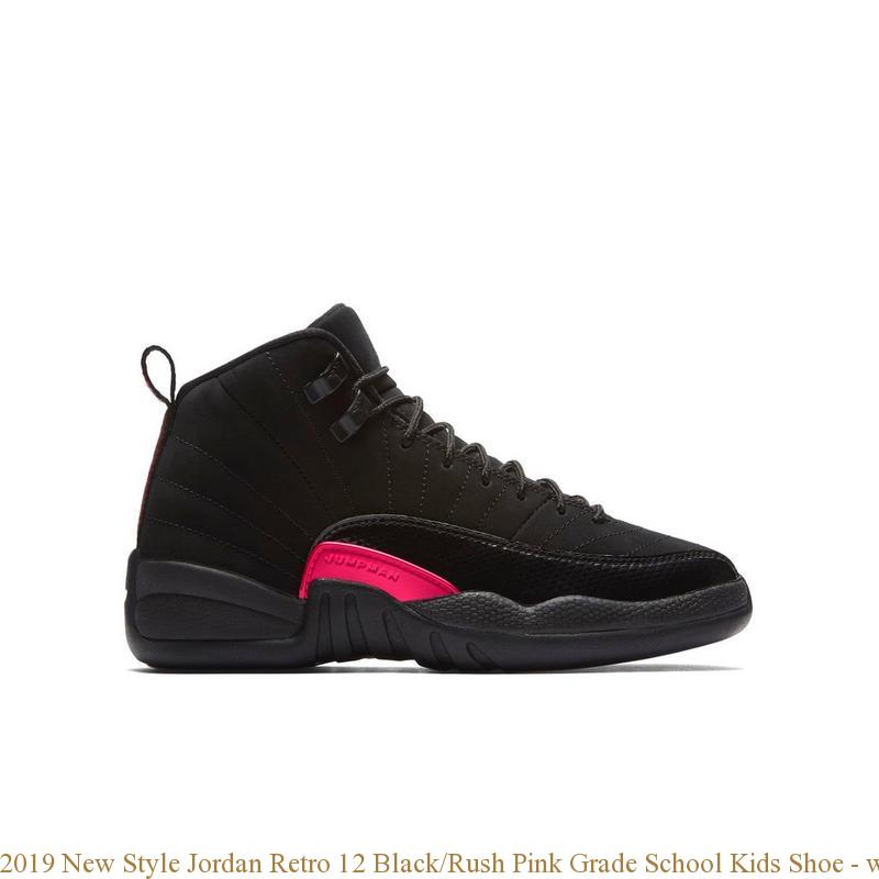 watch 38426 4efc3 2019 New Style Jordan Retro 12 Black/Rush Pink Grade School Kids Shoe -  where to get cheap jordans that are real - S0216